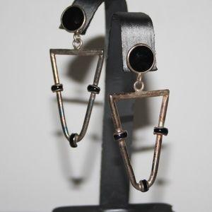 Vintage rustic silver and black dangle earrings